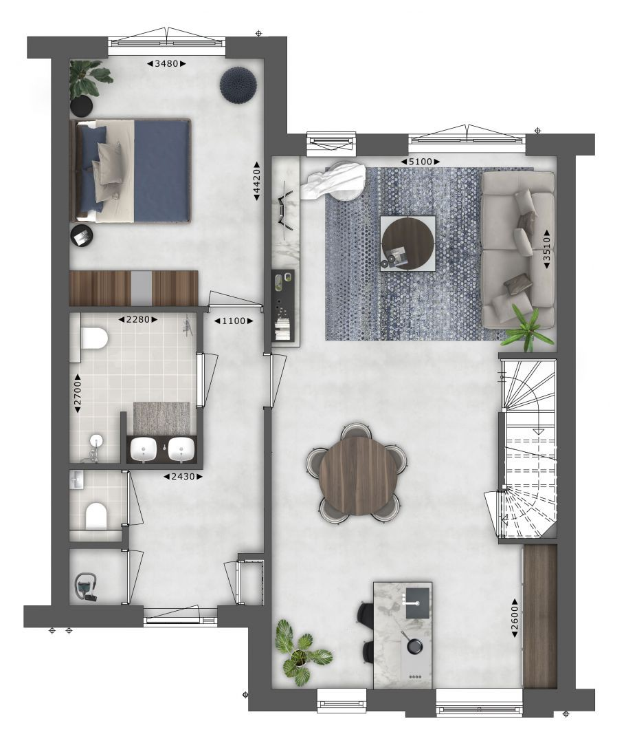 Plattegrond begane grond bnr 18 Semi bungalow - Type I WIECK